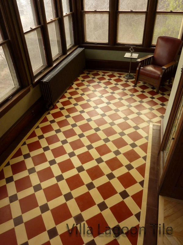 Brownstone Victorian Floor made from cut solid-color tiles.
