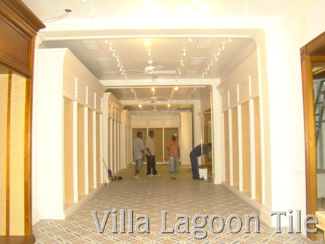 Construction of retail space with cement tile