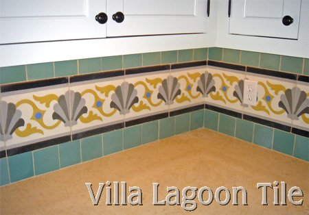 Schell Scroll cement tile backsplash