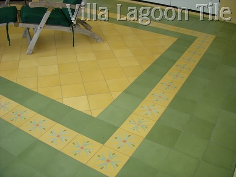 Single color cement tile, green, yellow, and border floor.