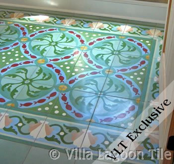 Pescado Cement Tile floor, by Villa Lagoon Tile