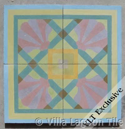 Trellis Shell cement tile in custom colors