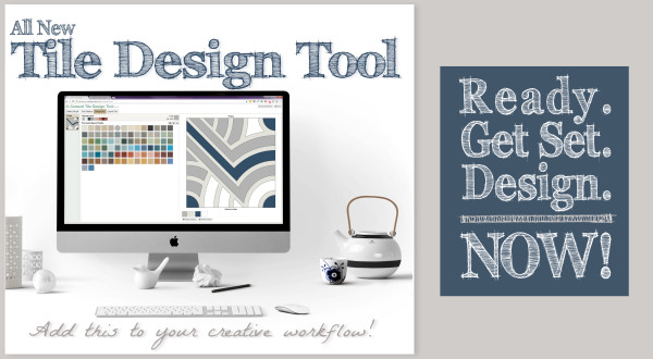 "Villa Lagoon Tile's Tile Design Tool, shown on an Apple iMac, with stylized text that reads, ""All New Tile Design Tool. Add this to your creative workflow! Ready. Get Set. Design. Now!"""