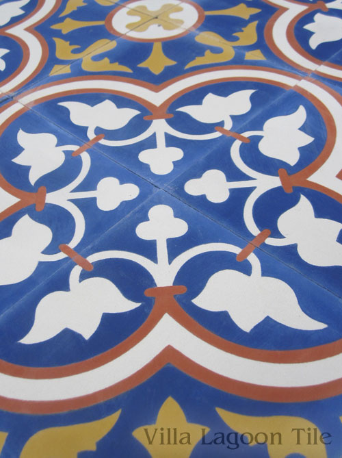 Roseton encaustic cement tile in Sebring colors on an angle